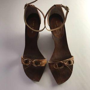 Carmel leather Kate Spade wedge sandals